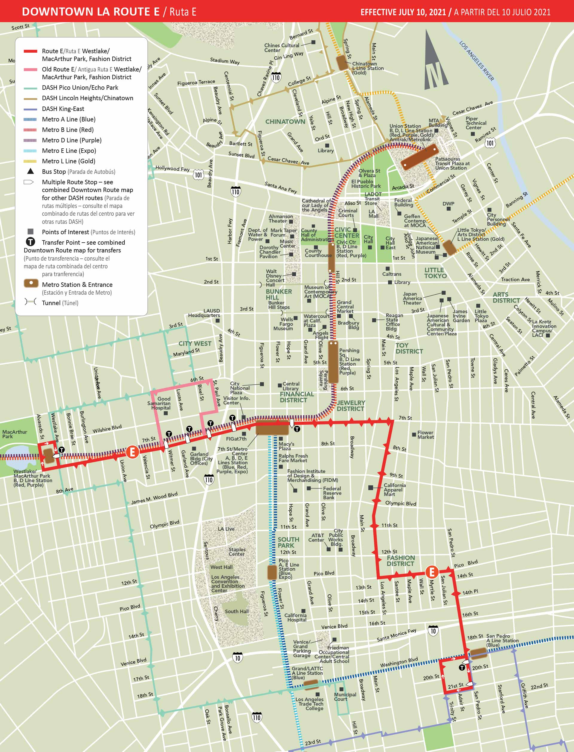 Map of DASH Downtown E