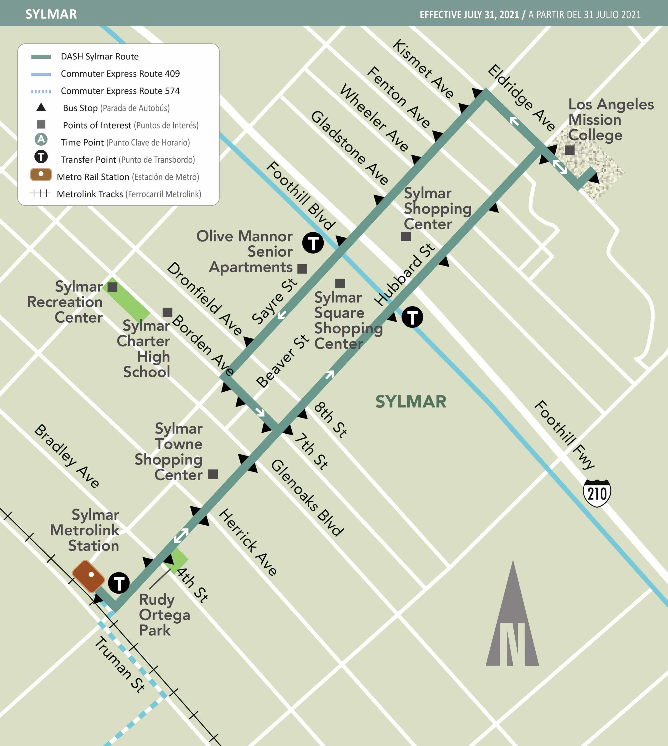 Map of DASH Sylmar